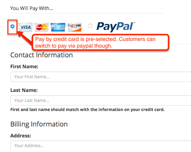 pay with options