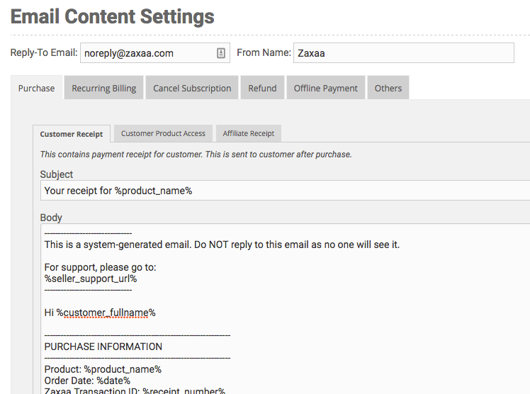 transactional email content settings
